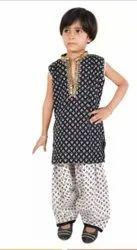 Patiyala Black And White Kids Patiala Dress, Size: Small