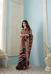 Gopin Apparels 5.5 M (Separate Blouse Piece) Woman Bhagalpuri Saree, With Blouse Piece