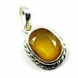 Yellow Sapphire (pukhraj) Gemstone pendent