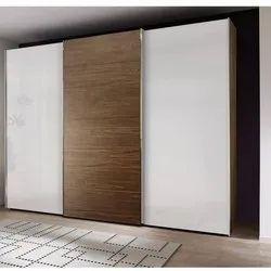 3 Doors 6 Feet Wooden Wardrobe, With Locker