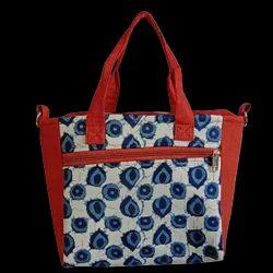 Indigo Blue Leaf Print With Plain Brown - Pelican Handbag Cum Sling