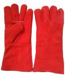 Unisex Red Leather Welding Glove, 10inch, Finger Type: Full Fingered
