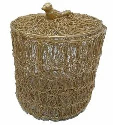 Round Iron Decorative Box, For Decoration
