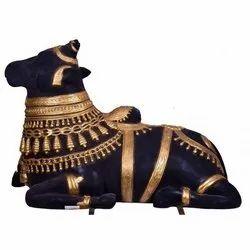 Nandi Statue In Black And Golden
