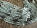 Natural Moss Aquamarine Rondelle Faceted 4 To 8mm Beads Sold Per Strand 14 Inches Long