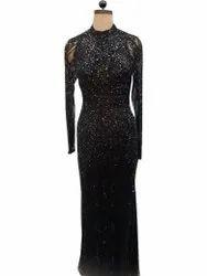 Net Western Wear Ladies Black Long Gown