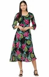 Ladies Georgette Export Printed Middi Dress