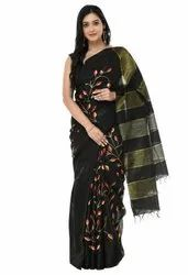 Black Party Wear Cotton Silk Embroidery Saree, 5.5 m (separate blouse piece)
