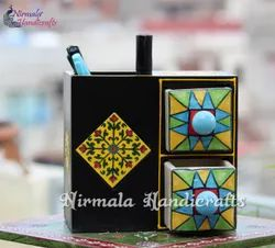 Nirmala Handicrafts Exporters Wooden Pen Stand With Drawers Table Decor And Gift Articles 5.5 Inch
