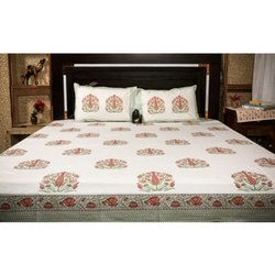 Handblock Print 100% Cotton Fabric Bedsheet With 2 Pillow