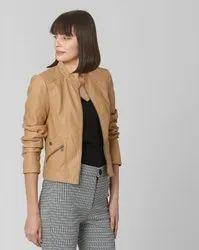 Full Sleeve Beige Women Leather Jacket