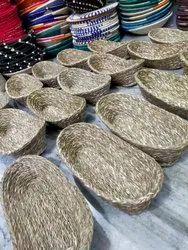 Sabai Grass Natural Bread Basket/ Chapati Serving Basket, Oval, Size: 12*5*2.5 Inch