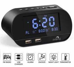 Black Digital Dock Station Dual Alarm Clock With FM Radio