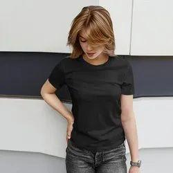 iKraft Women's Slim Fit Plain Yellow T-Shirt