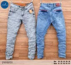 Comfort Fit Casual Wear Mens Faded Denim Jeans