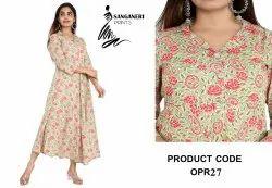 Sanganeri Prints Ladies Collar Floral Print Anarkali Kurti, Size: S, M, L, XL, XXL
