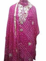 Ladies Silk Bandhej Suit
