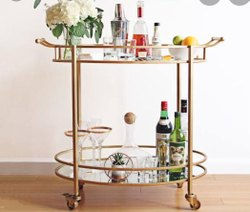 Antique Brass Serving Bar Trolley