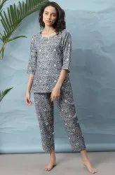 Janasya Women's Grey Cotton Night Suit Set (NW015)