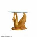 Fiber Golden Swan Statue/ Table (Without Glass)