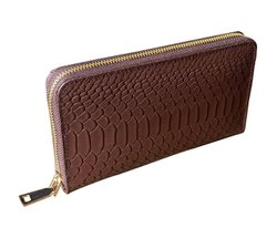 Brown Modern Handmade Genuine Leather Snack Printed Clutch, Rectangle