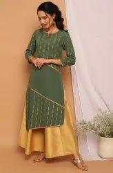 Janasya Women'S Green Poly Crepe Kurta(JNE3742)