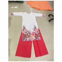Cotton Sequence Embroidery Palazzo set for Ladies