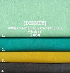 Disney 100% cotton linen yarn dyed plain shirting fabric