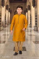 Silk India Long Kids Kurta Pyjama Set
