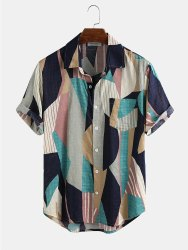 Geomatrical Design Print Half Sleeve Shirt