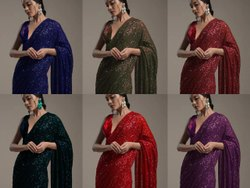 Net Sequence Work Saree Sumshy