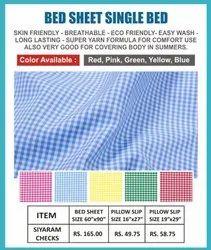 SIYARAM CHECK BED SHEET SINGLE BED SIZE 60x90