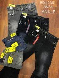 Regular Fit Zipper Mens Denim Jeans, Button