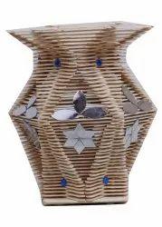 Wooden Matte Handmade Flower Vase, For Home And Garden