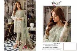 Uniquetreand Faux Georgette & Heavy Net Unstitched Salwar Kameez By Fepic