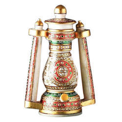 Gold Paint Embossed White Marble Lantern