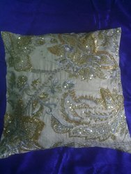 Polyester Hand Beaded Embroidered Pillow Cover
