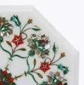 Octagonal Marble Inlay Table Tops, White Marble Inlay Table