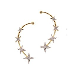 American Diamond Gold Star Design Plated Earcuffs