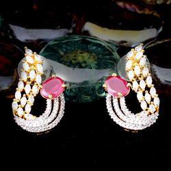 Brass American Diamond CZ Engagement Earrings