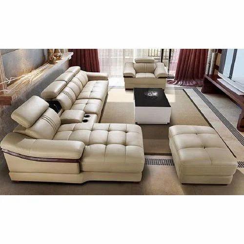 Designer Leather Furniture: Leather Fabric Cream Designer Sofa Set, Rs 60000 /set