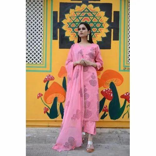 Pinkville A-Line Cotton Block Print Suit, Handwash