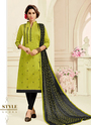 Cotton Slub Churidar Suits For Casual Wear