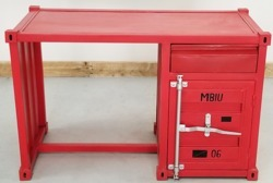 Red Container Style Industrial Office Desk, Container Style Furniture