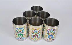 Royal Flower Designed Hand Painted S.S. Meenakari Glasses-SM