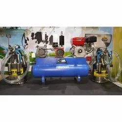 Two Bucket Milking Machine with Engine