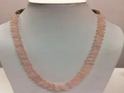 Natural Rose Quartz Pumpkin Melon Shape Carving Beads Necklace Set