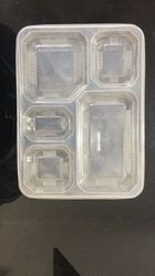 5 Compartment Plastic Disposable Food Tray