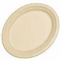 Gujarat Shopee Plain Wheat Straw Oval Plate (318 X 255 X 22 Mm)