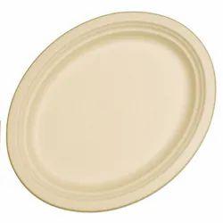 GUJARAT SHOPEE Plain Wheat Straw Oval Plate (318 X 255 X 22 MM), For Event